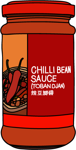 Illustration of a jar of chilli bean sauce